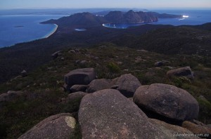 A moonlit Wineglass Bay from Mt Graham