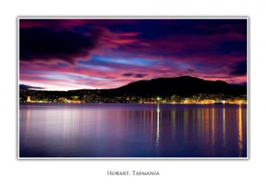 Tasmanian Landscape Photo Cards - Hobart Evening Skyline