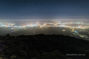 Hobart at night as seen from Mt Wellington