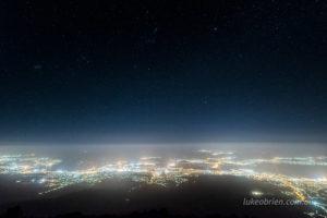 Hobart night lights and a beautiful starry night