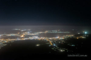 hobart city lights mt wellington