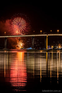 Hobart fireworks new years eve 2018, from Lindisfarne