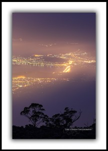 Hobart at Night, Fog. View from Mt Wellington.