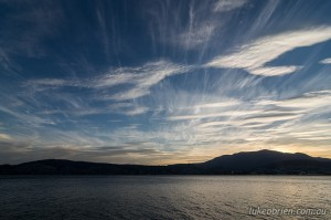 Late afternoon sky over Hobart last night