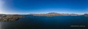Hobart & Mt Wellington aerial panorama