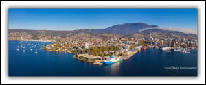 hobart waterfront and mt wellington, aerial photo