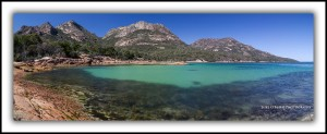 Tasmanian landscape photos. Honeymoon Bay & the Hazards, Freycinet. Panorama.