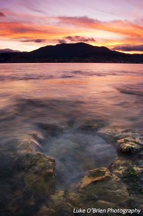 Sunset over Hobart, Mt Wellington & River Derwent