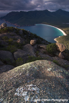 Wineglass Bay and the Freycinet Peninsula, early morning view from Mt Amos
