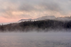 Mt Olympus amid the morning mist, Lake St Clair