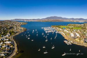 Lindisfarne Bay, aerial - view to Hobart