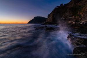 Crashing waves at dawn. Fossil Cliffs, Maria Island
