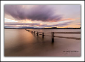 Sunset, long exposure Mortimer Bay seascape