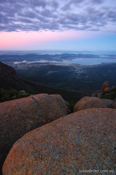 Hobart at Dusk from Mt Wellington