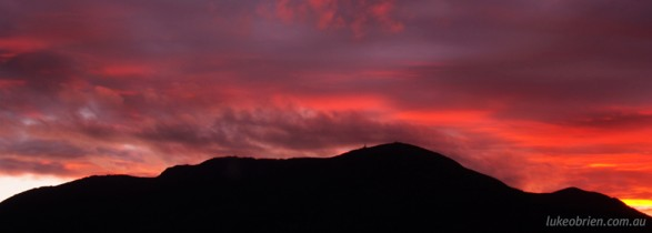 Sunset Silhouette of Mt Wellington, Hobart