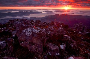 Tasmanian photography - Sunrise from Mt Wellington