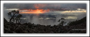 Mt Wellington Sunrise, Island Light Exhibition Tasmania