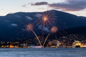 New years eve fireworks over Hobart, viewed from Bellerive