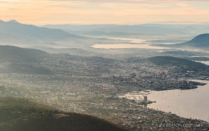 Hobart from the air - Mt Nelson, Sandy Bay and the Tasman Bridge
