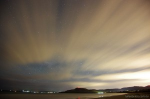 Stars & Cloud, Seven Mile Beach Hobart. With Pentax OGPS1 / Astro Tracer.
