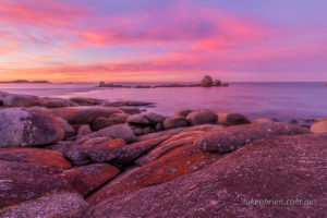 An absolute ripper of a sunset over the Bay of Fires