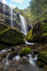 A portrait of Rinadena Falls from closer up
