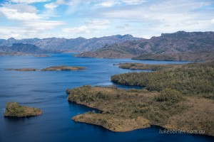 Lake Pedder Aerial Photos. View to Frankland Range