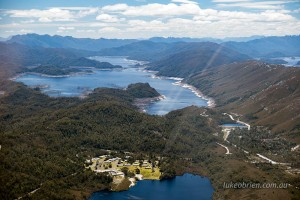 Lake Gordon and the Lake Pedder Lodge, South West Tasmania