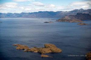 Lake Pedder - Aerial Photos. View to Frankland Range