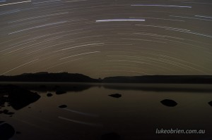 Night Sky Photos - Star trails at Lake St Clair