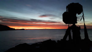 photographing the sunrise - sleepy bay tasmania