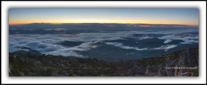 Sunrise & Fog over Hobart. View from Mt Wellington