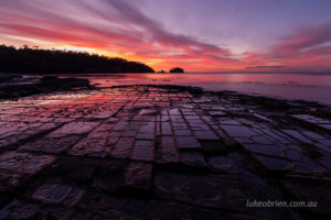 Beautiful fiery sunset at the Tessellated Pavement