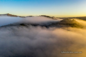 Sunrise and morning mist, Tarkine