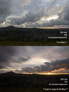 Tarkine Sunset With and Without 10 stop ND filter