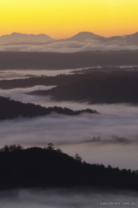 Tarkine sunrise and morning mist from Mt Donaldson