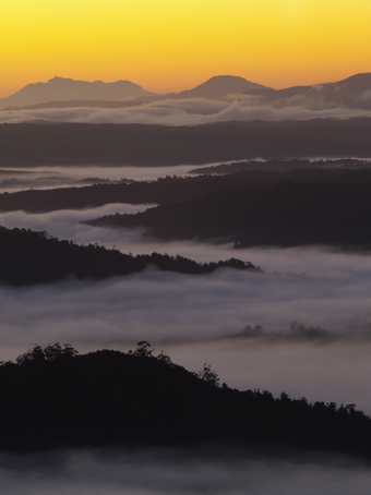 Pre-dawn mists below Mt Donaldson