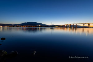 Hobart city skyline Tasman Bridge