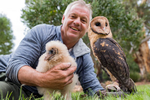 Family Portrait - Craig with the two young owls