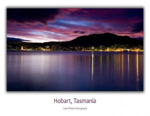 Tasmanian Postcards - Hobart Night Skyline