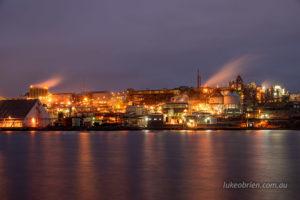 Zinc Works Hobart. Night shot from Risdon.